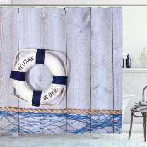 "Ambesonne Buoy Shower Curtain, Welcome on Board Greeting Message Holiday Seaman Sailing Maritime Theme, Cloth Fabric Bathroom Decor Set with Hooks, 70"" Long, Blue Grey"
