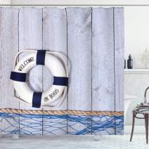 """Ambesonne Buoy Shower Curtain, Welcome on Board Greeting Message Holiday Seaman Sailing Maritime Theme, Cloth Fabric Bathroom Decor Set with Hooks, 70"""" Long, Blue Grey"""
