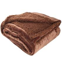 "LotFancy Sherpa Throw Blanket, Twin Size Super Soft Fuzzy Fleece Blanket, Cozy Flannel Velvet Microfiber Blanket for Couch Bed Sofa, Super Warm Comfy Reversible Blanket, Lightweight Brown 60""x80"""