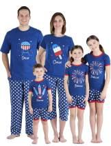 SleepytimePJs Family Matching Cotton Red, White, and Blue Pajama Set