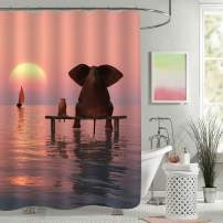 "MitoVilla Elephant Shower Curtain, Elephant and Dog Sitting in The Middle of The Sea Watching Sunset Bathroom Accessories, Elephant Gifts for Women, Men and Kids, Red, 72"" W x 72"" L"