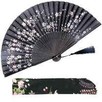 Leehome Hand Held Silk Folding Fans with Bamboo Frame - with a Fabric Sleeve for Protection - Chinese/Japanese Vintage Retro Style (Little Sakura - Black)