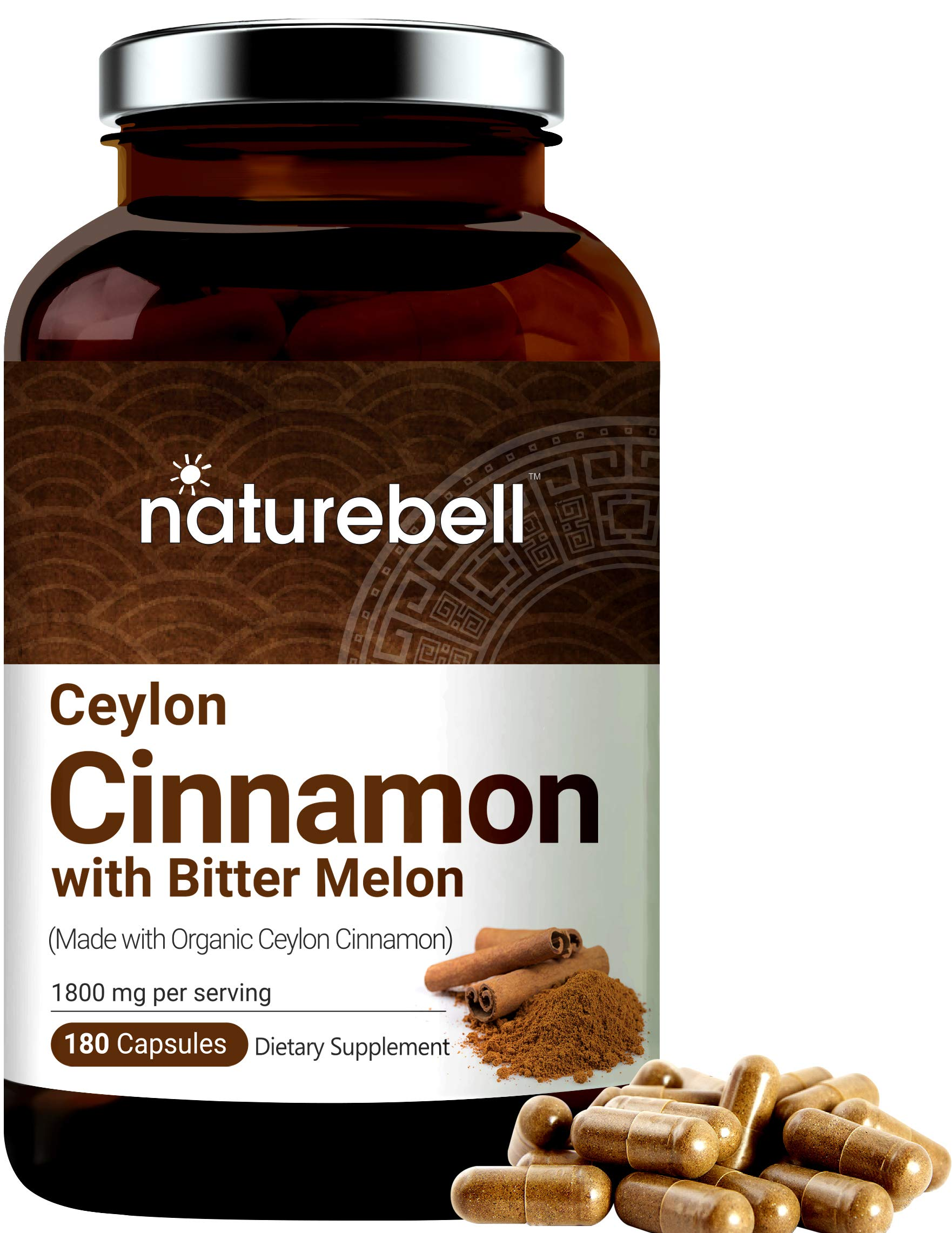 NatureBell Organic Ceylon Cinnamon Supplements, 1800mg Per Serving, 180 Capsules, Powerfully Support Sugar Metabolism, Heart Function and Joint Health for Men and Women, 1 Pack