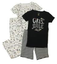 Carters Girls Snug Fit Cotton 4 Piece PJ Pajama Sets (Black Bunny, 8)