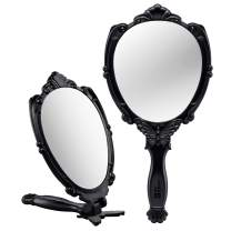 Decorative Hand Held Mirror - Beautifully Embossed Butterfly Design Hand Mirrors with Handle - Lightweight Handheld Mirror - 180° Full Folding Portable Mirror - Ideal Travel Makeup Mirror (Black)