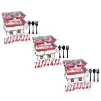 Tiger Chef 99-Piece Red Food Warmer Chafing Dish Buffet Set, Disposable Chafing Dishes with Colorful Baking Pans, Fuel Gel Burns 2.5 Hours, Serving Utensils and Plastic Cutlery