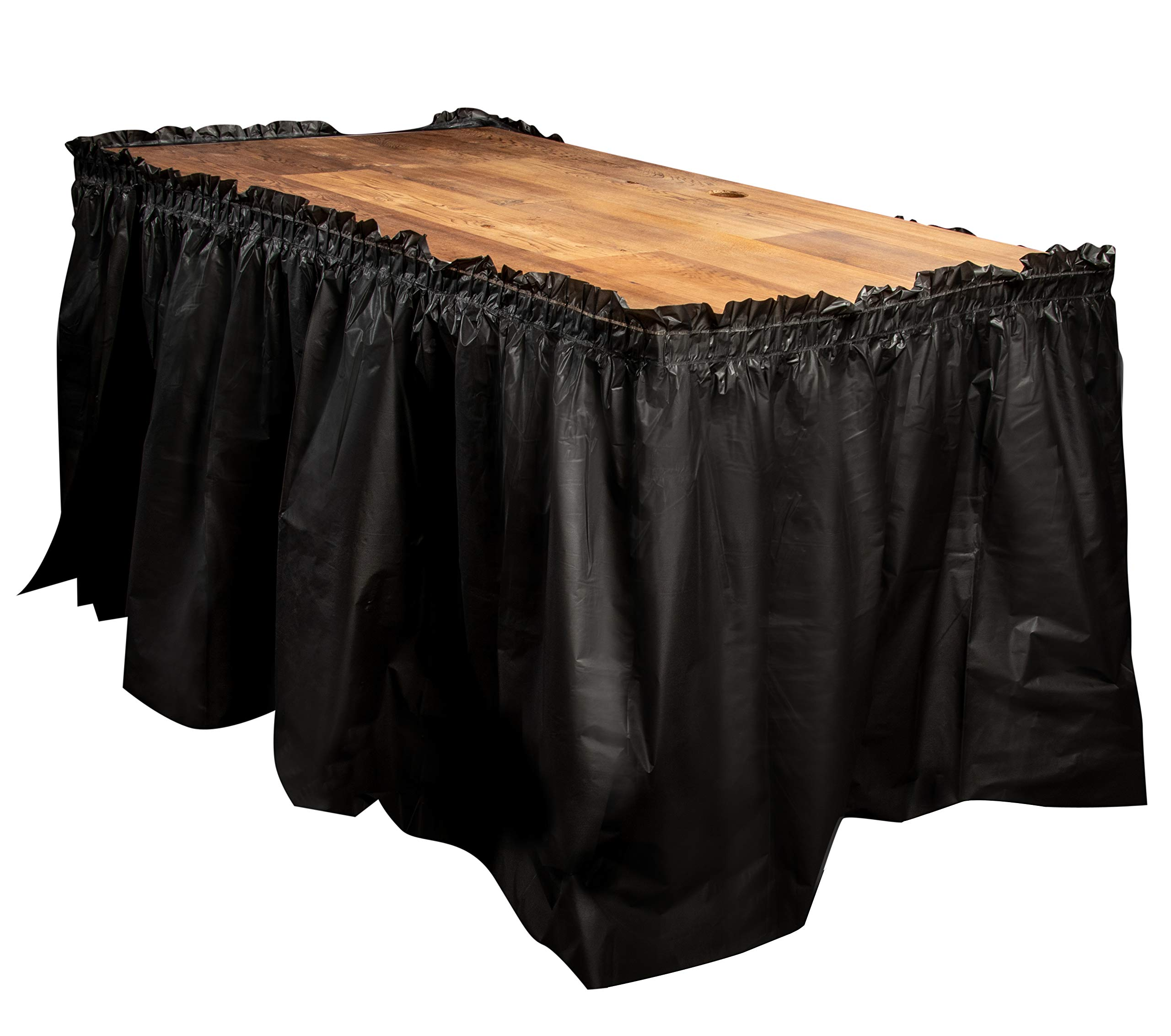 Disposable Table Skirts – 6-Pack Ruffled Plastic Table Skirts – Perfect for Weddings, Engagement Parties, Birthdays, Business Events, Baby Showers, Black, Suitable for Tables Up To 8 Feet Long