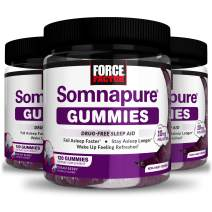 Somnapure Gummies with Melatonin for Adults, Non-Habit-Forming Sleep Aid Supplement for Deep Sleep, Stay Asleep Longer, Wake Up Refreshed, Dream Berry Flavor, Force Factor, 360 Gummies (3-Pack)