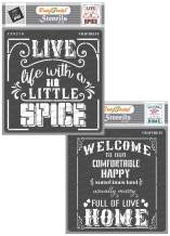 CrafTreat Kitchen Decor Stencils for Painting on Wood, Canvas, Paper, Fabric, Floor, Wall and Tile - Spicy Life and Welcome Home - 2 Pcs - 6x6 Inches Each - Reusable DIY Art and Craft Stencils