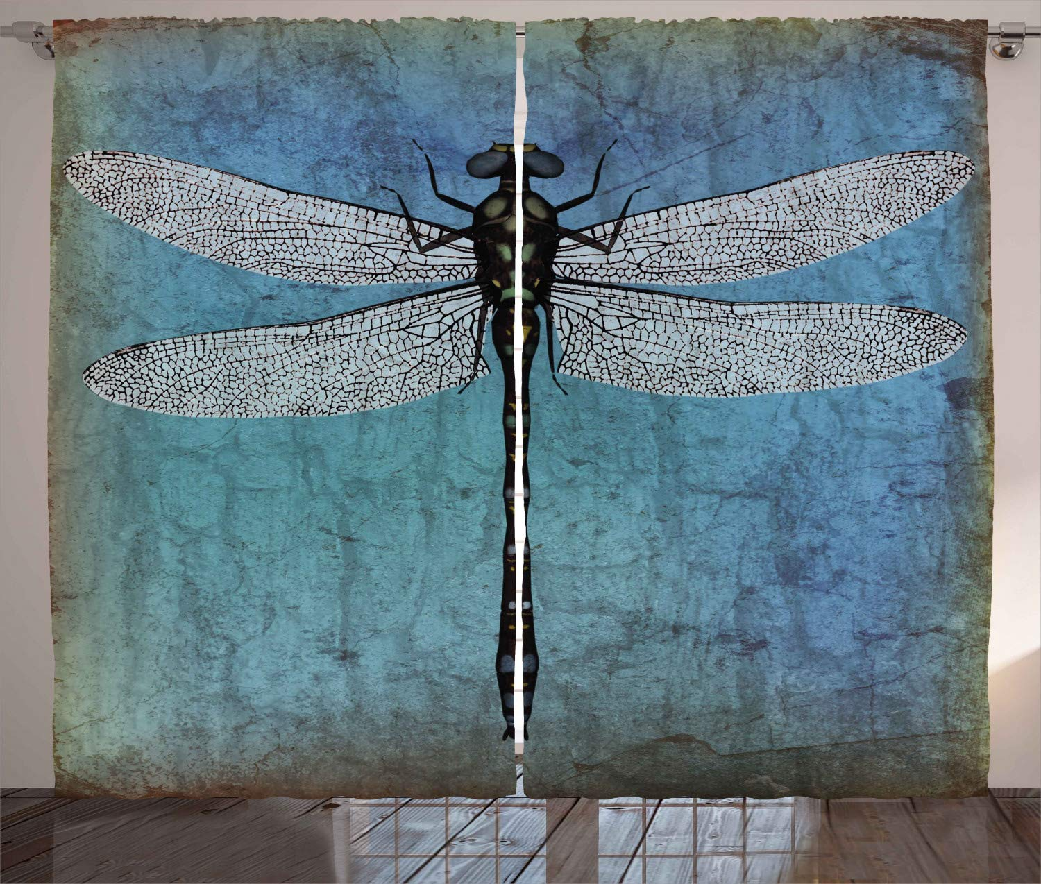 Ambesonne Dragonfly Curtains Grunge Vintage Old Backdrop And Dragonfly Bug Ombre Image Living Room Bedroom Window Drapes 2 Panel Set 108 W X 108 L Inches Blue Turquoise