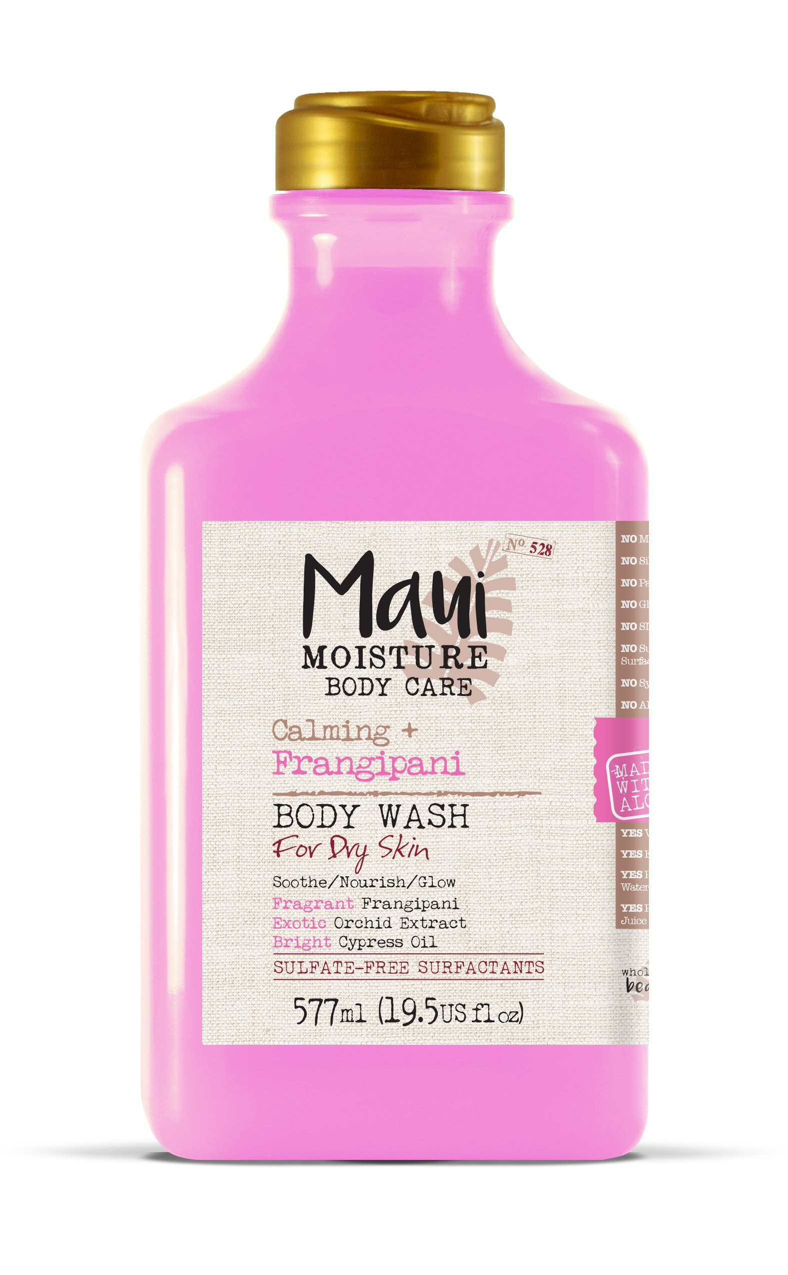 Maui Moisture Frangipani Body Wash for Dry Skin 19.5 Ounce Moisturizing Body Wash Formulated for Dry Skin, with Aloe Vera Juice and Coconut Water, Silicone Free