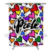 MitoVilla LGBT Pride Rainbow Heart Shower Curtain Set, Doodle Grunge Style Colorful Hearts Artistic Print, Waterproof Bathroom Shower Decoration, Large Size 72 x 78 inches