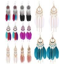 8 Pairs Women Feather Earrings Vintage Bohemian Earrings Long Drop Dangle Earrings Set With Dream Catcher Design