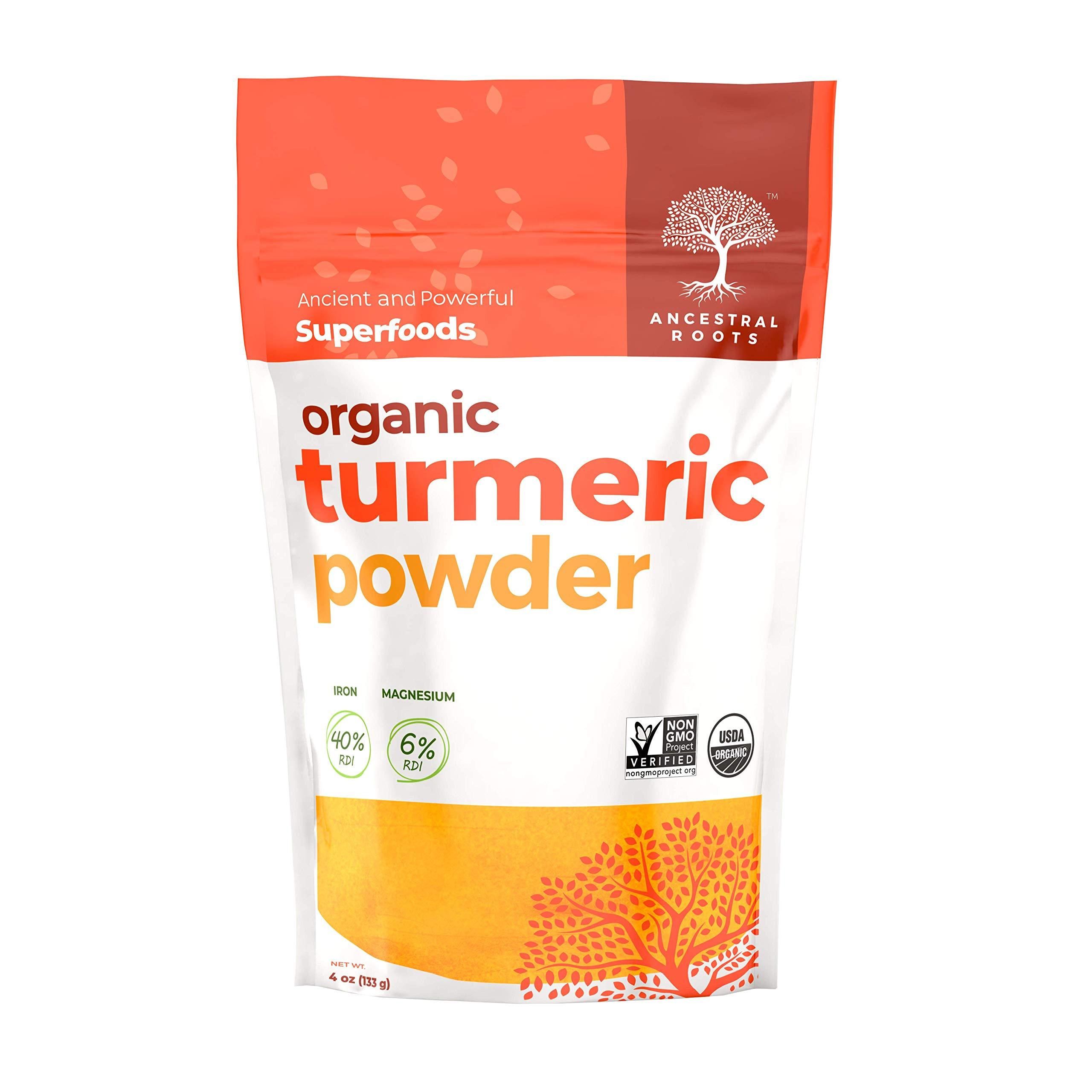 Ancestral Roots Organic Turmeric Powder - 100% Pure, USDA Certified Organic Turmeric Powder (4 oz)