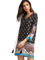 Floerns Women's Long Sleeve Palm Leaf Print Ethnic Style Shift Dress Black Blue XS