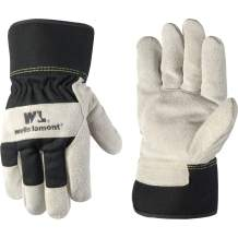 Men's Heavy Duty Leather Palm Winter Work Gloves with Safety Cuff (Wells Lamont 5130L), Black, Large