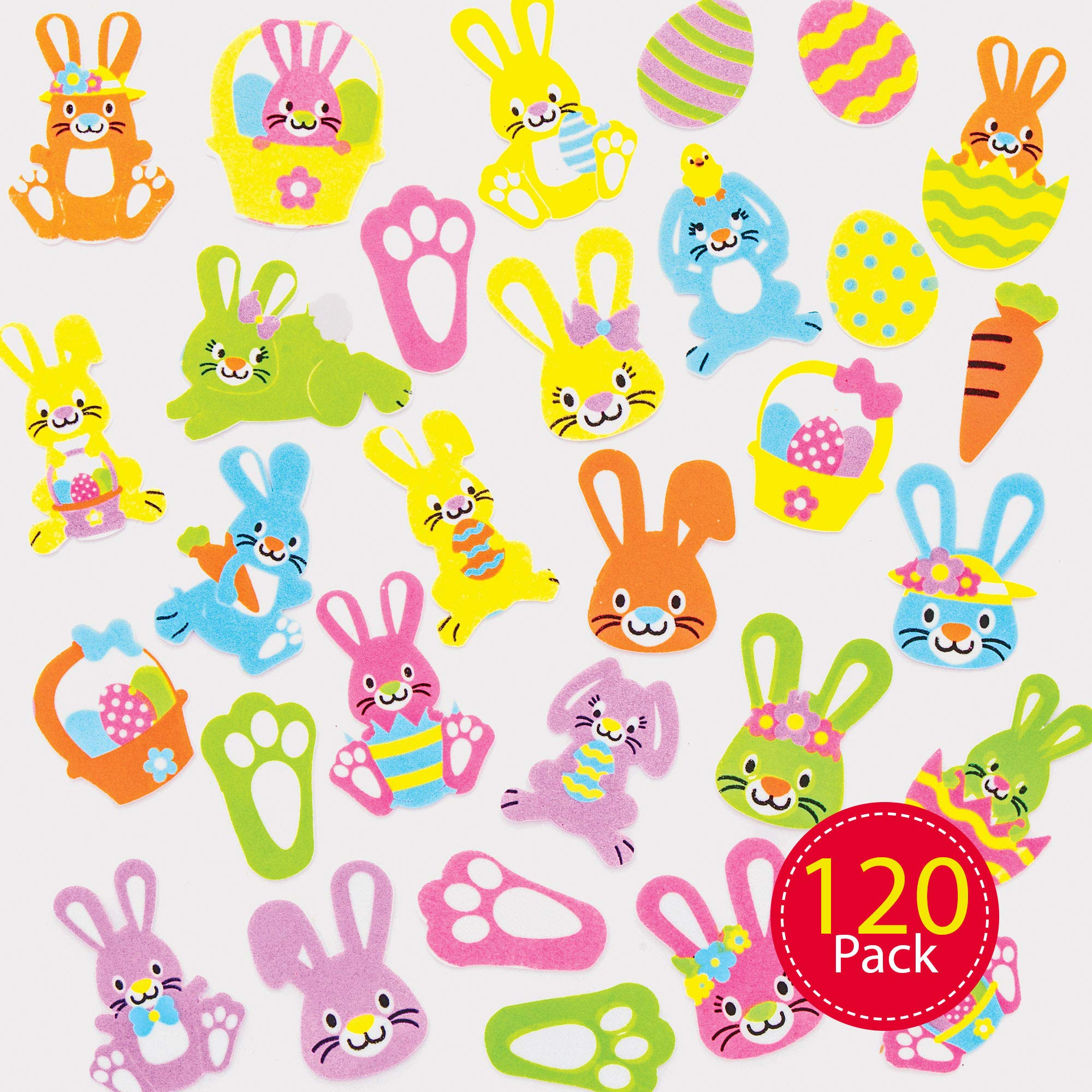 Baker Ross Bunny Foam Stickers, Creative Art and Craft Supplies for Kids to Make and Decorate (120 Pack) , Assorted , AT388
