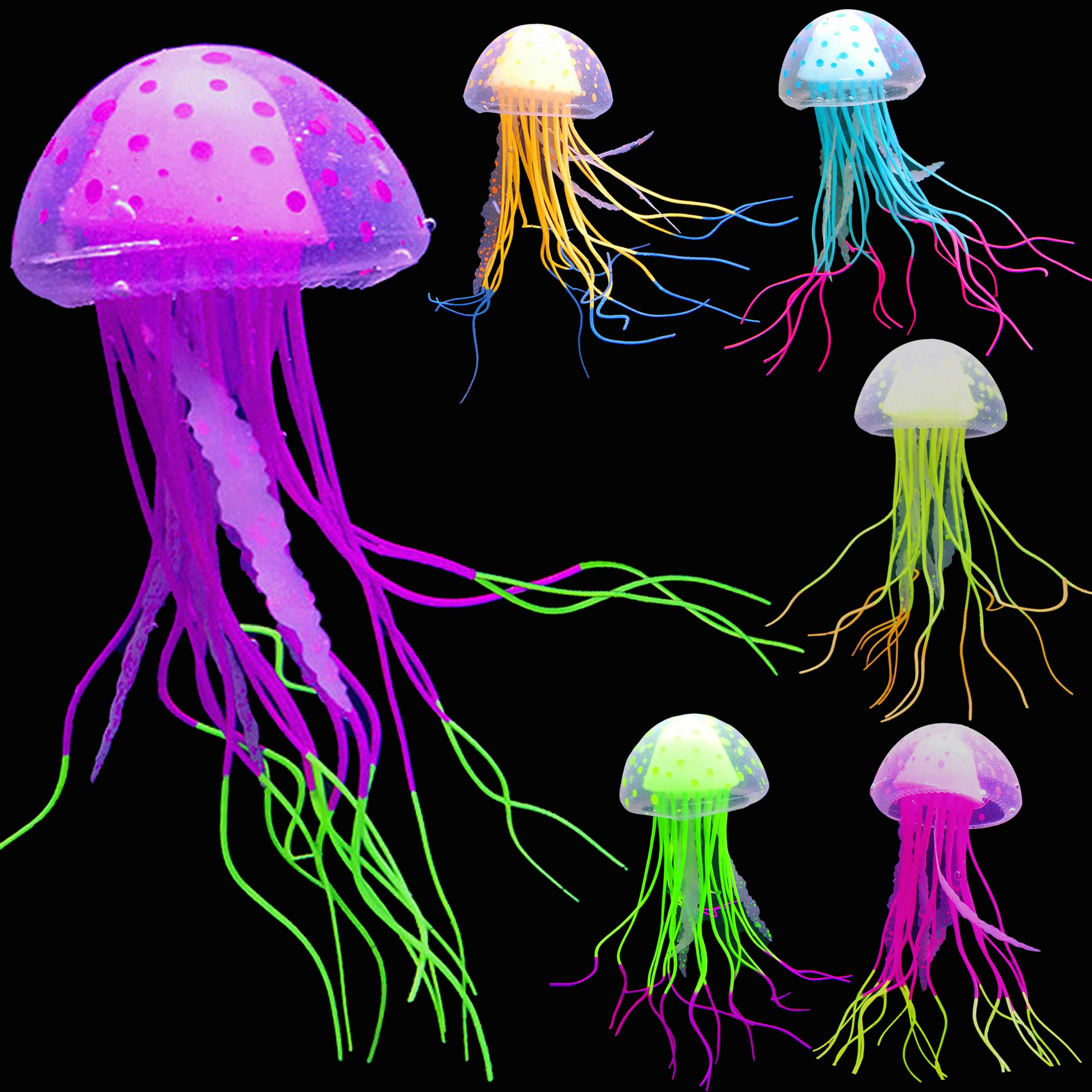 SunKni 6 Pcs Glowing Jellyfish Glow in The Dark Fish Tank Decorations Aquarium Decor Ornament Silicone Artificial Jellyfish 2020 Moon Jellyfish