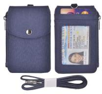 Woogwin Leather Badge Holder with Lanyard, ID Card Holder Wallet,1 Side Zipper Pocket, 4 Card Slots, 1 ID Window,1 Heavy Duty Leather Lanyard (Crossblue)