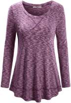 Cestyle Women's Round Neck Yoga Tops Workout Running Shirts Activewear