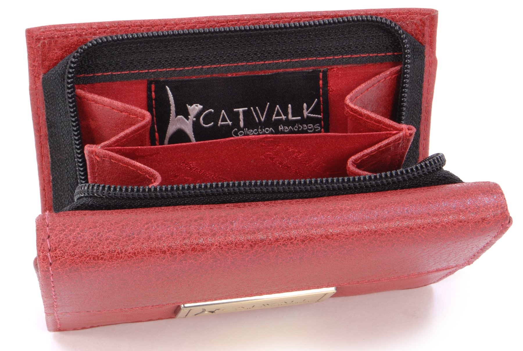 Catwalk Collection - Ladies Luxury Large Trifold Purse With Gift Box - Real Leather RFID - Credit Card Wallet and Coin Compartment - VICTORIA