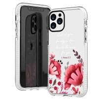 iPhone 11 Pro Case,Cute Red Floral Flowers Rose Purple Leaves Bible Verses Girls Women Christ Inspirational Christian Quotes 1 Peter 5:7 Trendy Soft Protective Clear Case Compatible for iPhone 11 Pro