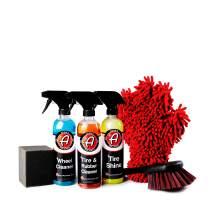 Adam's Essential Wheel & Tire Kit - Essential Car Wash Cleaning Supplies - Wheel Cleaner, Rubber Cleaner, Tire Shine, Foam Block Applicator, Scrubbing Brush & Dual 5 Finger Chenille Glove Mitt