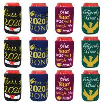 Tifeson 12-Pack Graduation Can Cooler Sleeves - Class of 2020 Funny Neoprene Beer Can Covers for Soda, Can Beverage - Graduation Party Supplies 2020