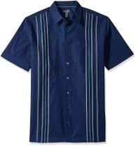 Van Heusen Men's Big and Tall Air Short Sleeve Button Down Panel Stripe Shirt