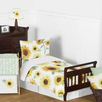 Sweet Jojo Designs Yellow, Green and White Sunflower Boho Floral Girl Toddler Kid Childrens Comforter Bedding Set - 5 Pieces Comforter, Sham and Sheets - Farmhouse Watercolor Flower