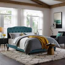 Modway Amelia Tufted Performance Velvet Upholstered Queen Bed in Sea Blue