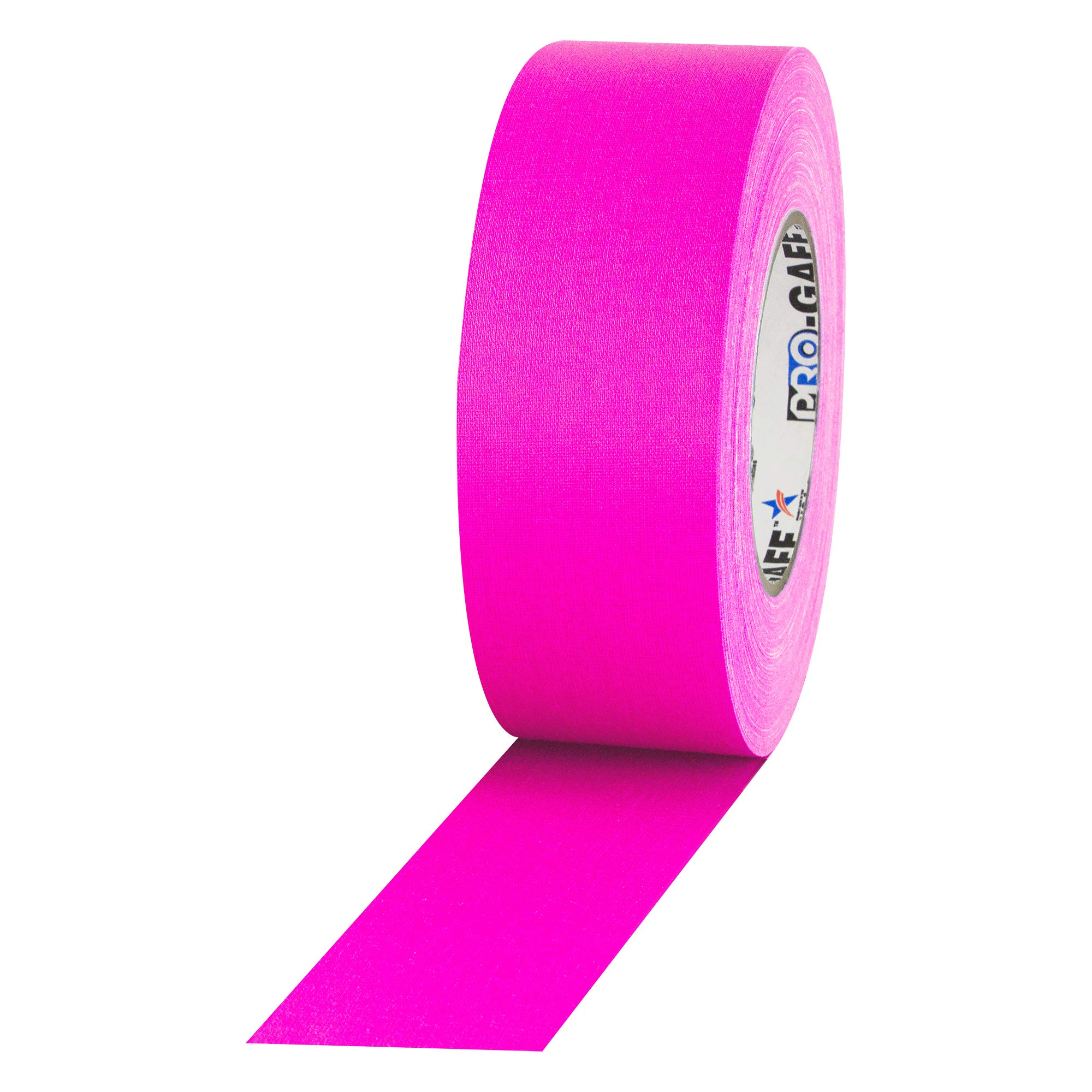 """2"""" Width ProTapes Pro Gaff Premium Matte Cloth Gaffer's Tape With Rubber Adhesive, 50 yds Length x, Fluorescent Pink (Pack of 1)"""