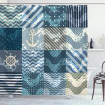 """Ambesonne Nautical Shower Curtain, Marine Theme Wave Patterns in Patchwork Style Boxes Squares Striped Anchor Print, Cloth Fabric Bathroom Decor Set with Hooks, 84"""" Long Extra, Blue Beige"""