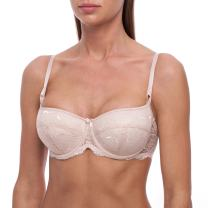 frugue Women's Sexy Balconette Push Up Lace Shelf Bra