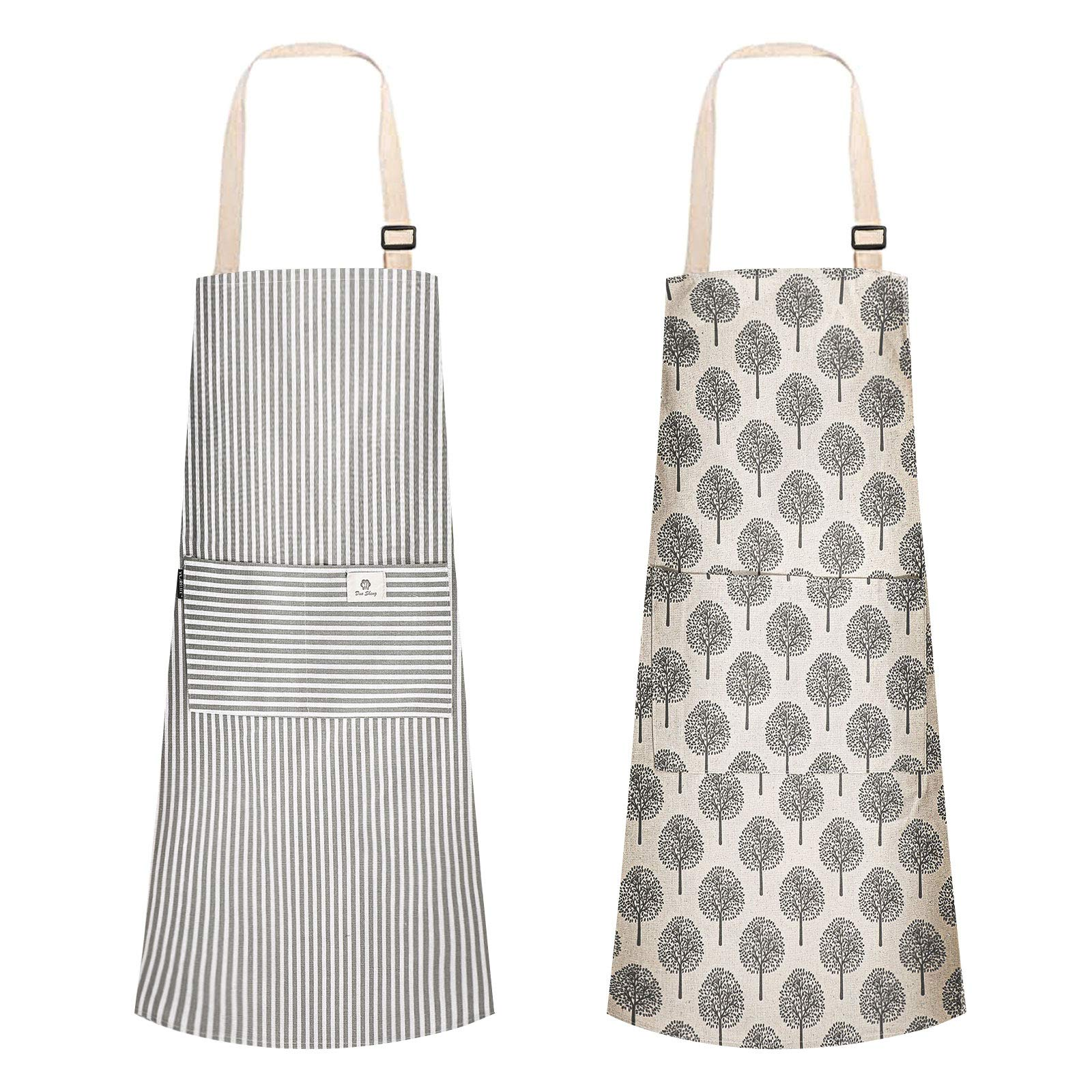Urijk Aprons for Women Men,2 Pieces Cooking Apron Adjustable Kitchen Apron Soft Chef Apron apron for women with 2 Pockets