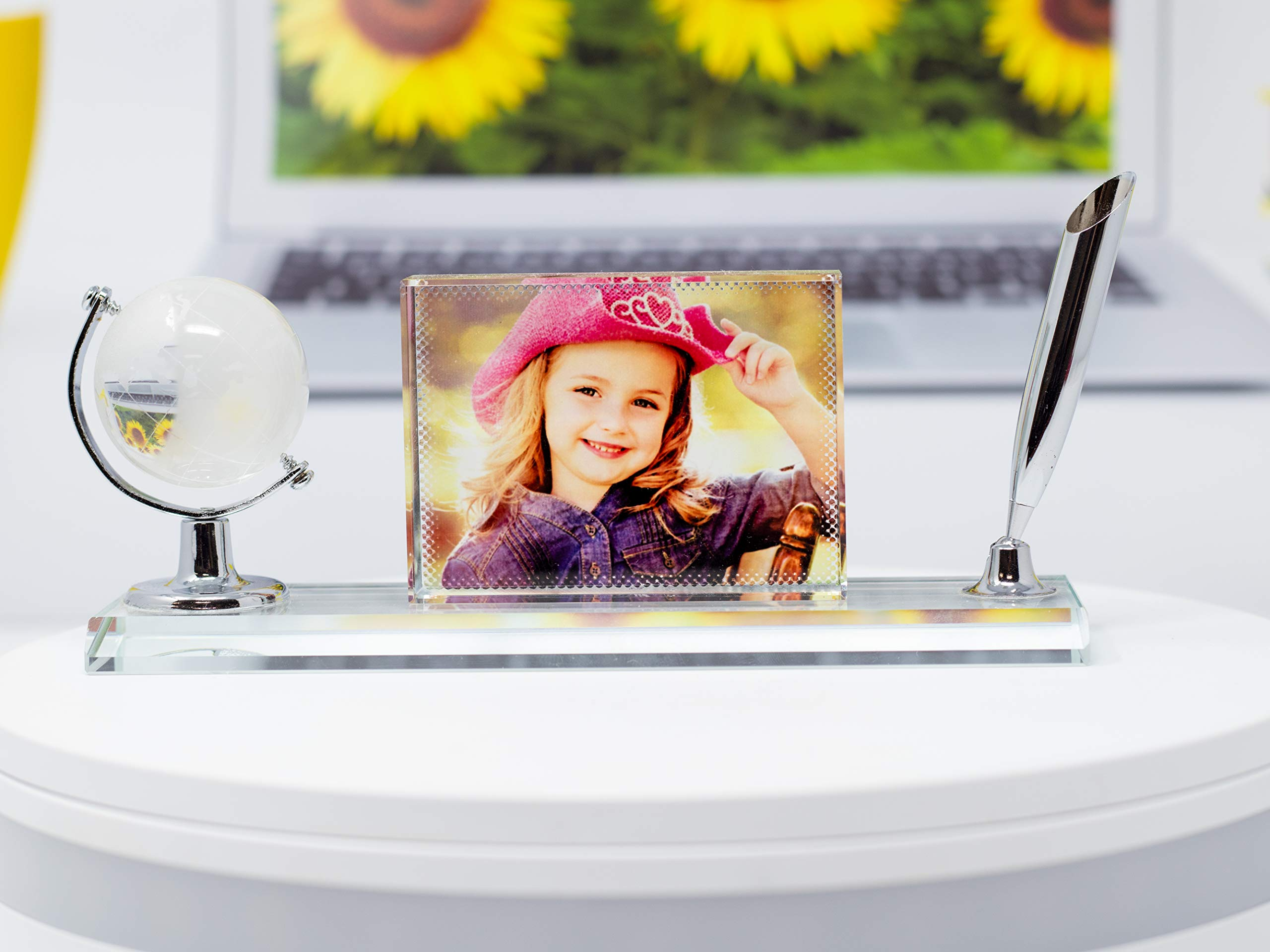 P&L ART. Crystal Print with Your Photo, Office Desktop Decor Personalized Picture Gift On Glass Clear Frame with Globe and Pen Holder, 7x3 Inches