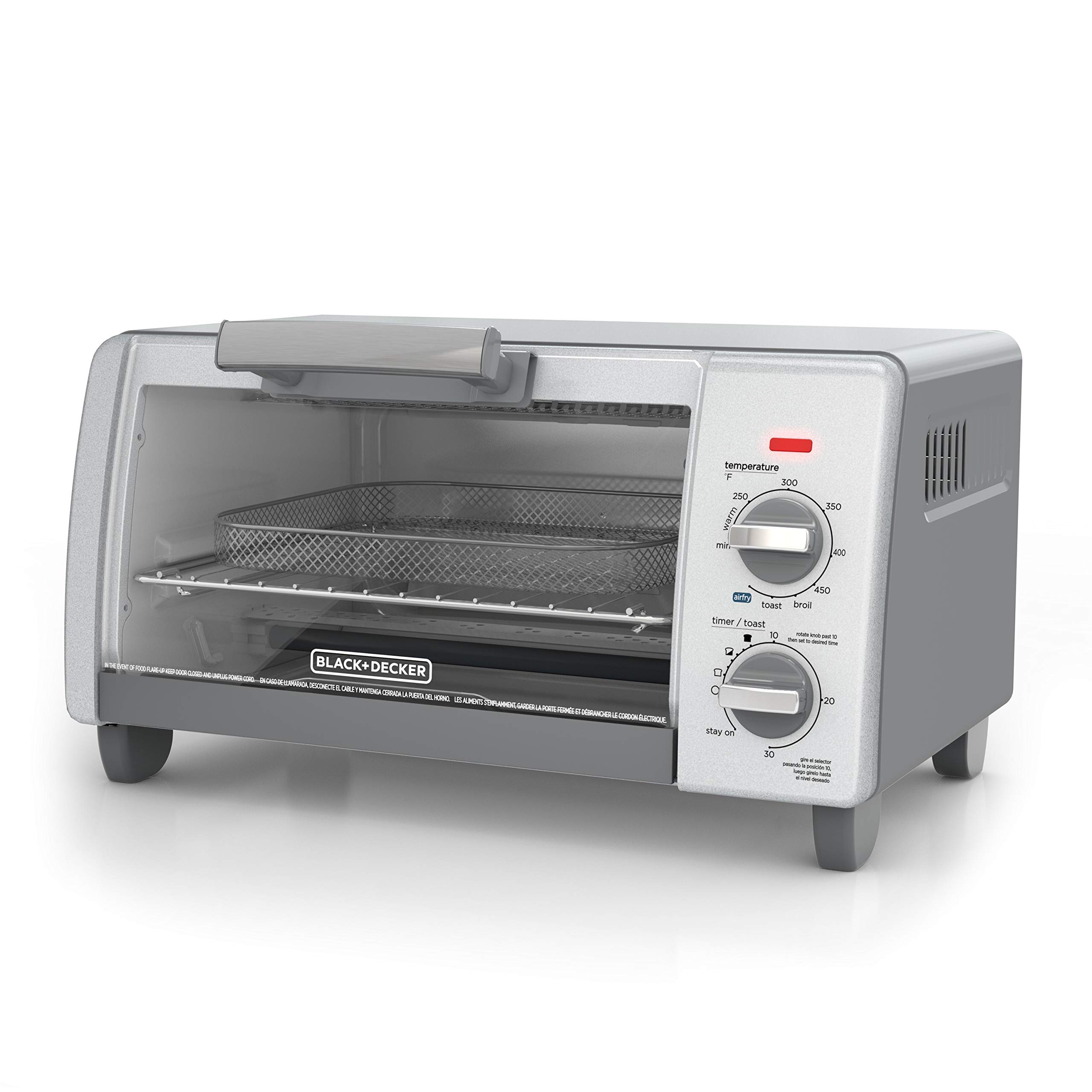BLACK+DECKER TO1785SG Crisp 'N Bake Air Fry Toaster Oven, 4-Slice, Gray