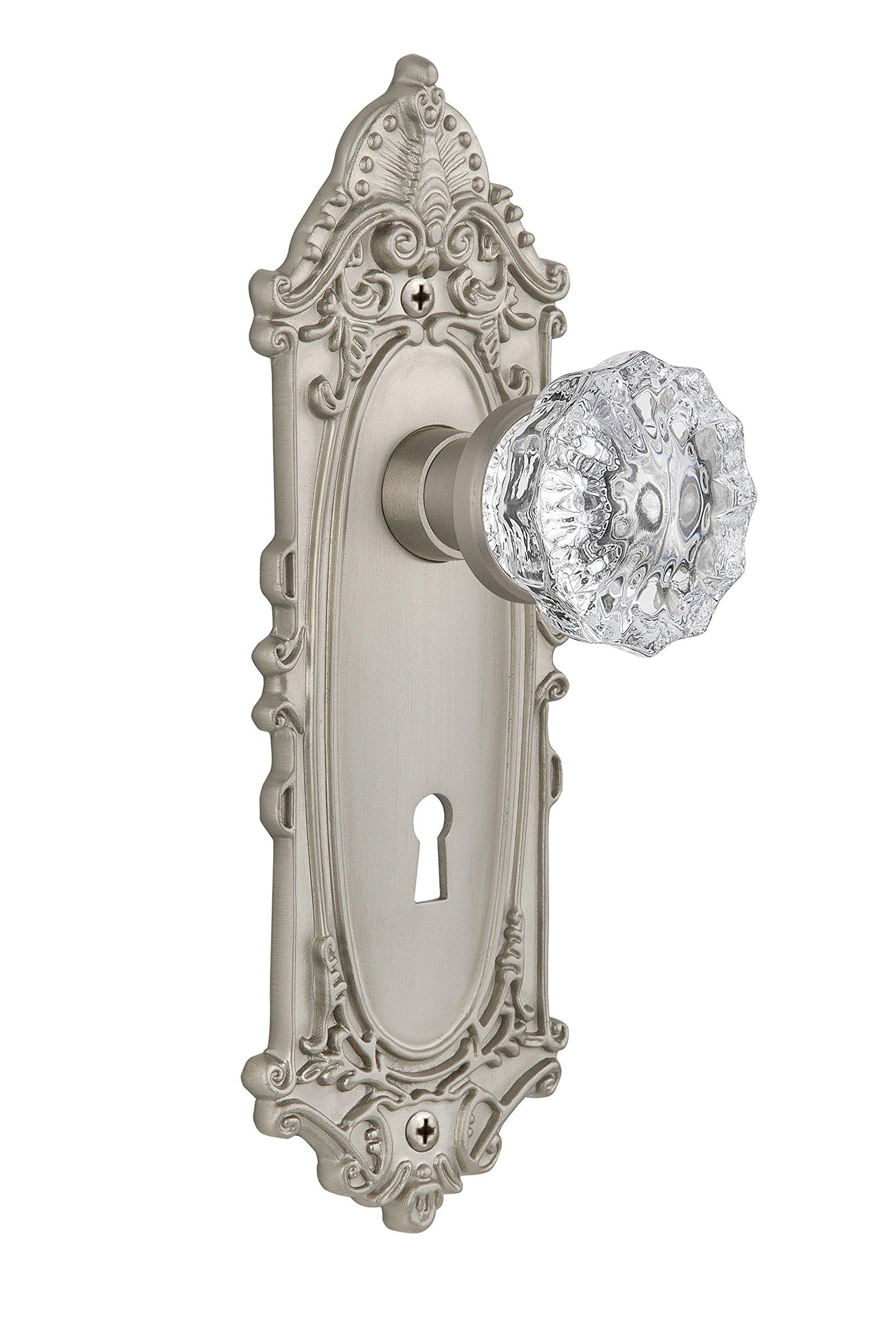 Nostalgic Warehouse Victorian Plate with Keyhole Crystal Glass Knob, Single Dummy, Satin Nickel