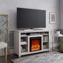 """Ameriwood Home Edgewood Fireplace 55"""", Ivory Pine TV Stand,"""