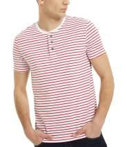 Mens Striped Shirt Short Sleeve Henley Neck 3 Button T-Shirts