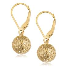 KoolJewelry Real 10k Yellow Gold White Gold or Rose Gold Filigree Ball Earrings Minimalist Jewelry for Women