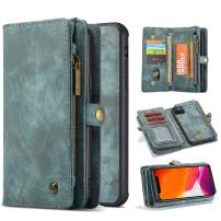 Harsel 11 Card Slot [Magnetic Closure] Detachable Removable Flip Handmade Premium Cowhide Leather Wallet Purse Case with Zipper Case Protective Cover for iPhone 11 Pro Max (Green)