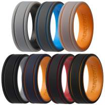 ThunderFit Men Silicone Wedding Rings 2 Layer - 7 Rings / 4 Rings / 1 Ring - Rubber Engagement Bands - 8mm Width - 2mm Thickness