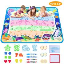 Aqua Doodle Mat, Magic Water Drawing Mat with Neon Color Reveal for Toddlers Magic Water Doodle Mat with 4 Magic Pens Educational Toys for Boys and Girls