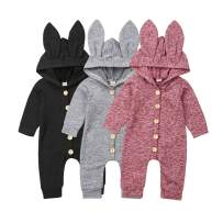 TheFound Newborn Unisex Baby Boys Girls One Piece Cute Long Sleeve Hooded Jumpsuit Button Romper Casual Coverall
