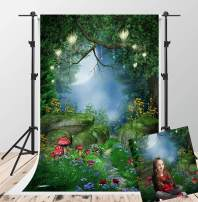Kate 5x7ft Fairytale Magic Photography Backdrops Dreamlike Forest Background Lighting Red Mushroom Scenic Photo Booth Backdrop Video