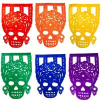 TexMex Fun Stuff Frida Catrina Mexican Day of The Dead Papel Picado Banner   Colorful Paper Decorations Fiesta Party Supplies Occasions   2 Pack (34 Feet Long)