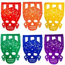 TexMex Fun Stuff Frida Catrina Mexican Day of The Dead Papel Picado Banner | Colorful Paper Decorations Fiesta Party Supplies Occasions | 2 Pack (34 Feet Long)