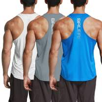 BALEAF Men's Workout Gym Tank Top Y-Back Sleeveless Bodybuilding Muscle T Shirts 3 Pack