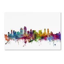 San Diego California Skyline by Michael Tompsett, 30x47-Inch Canvas Wall Art